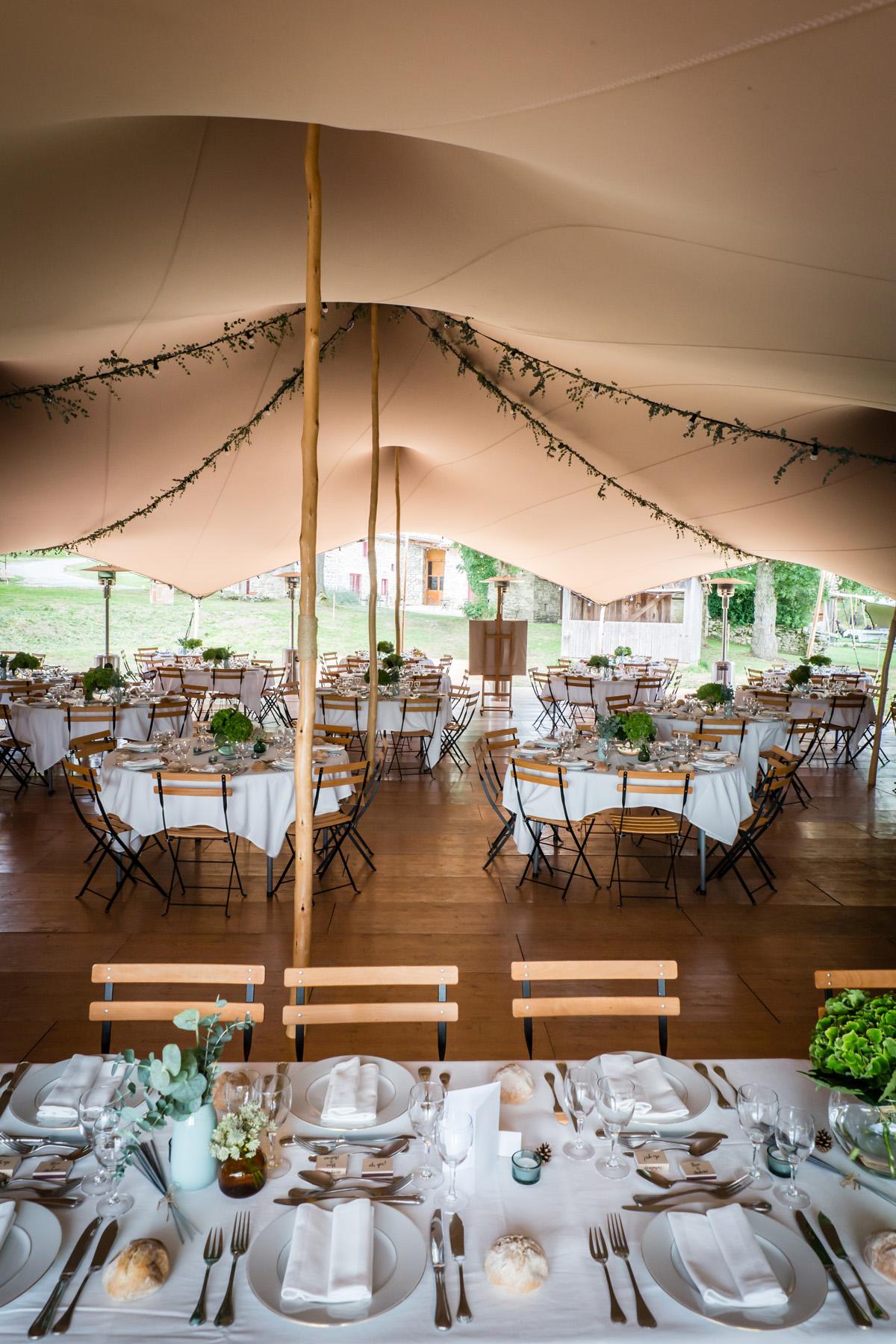 Tente bambou mariage champêtre romantique